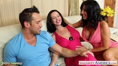 3some  big boobs  blowjob  brunette